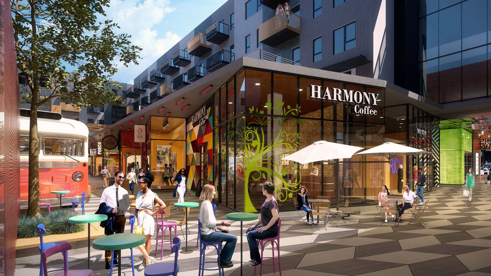 <p>The pedestrian arcade and paseo which bisects the site along both axes will offer a highly animated interior space intended to provide a wholly new experience to the downtown Denver retail scene.</p>